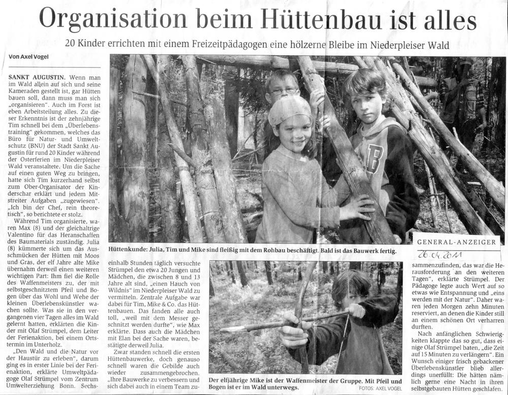 Zeitungsartikel Generalanzeiger, April 2011
