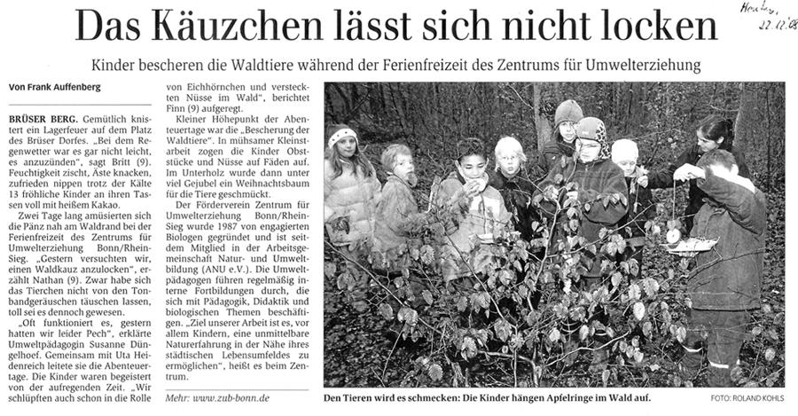 Zeitungsartikel Generalanzeiger, Dezember 2008