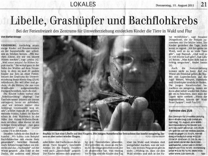 Zeitungsartikel Generalanzeiger, August 2011